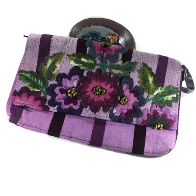 Embroidery huipil clutch, embroidery cotton clutch, birds embroidery, lilac tone