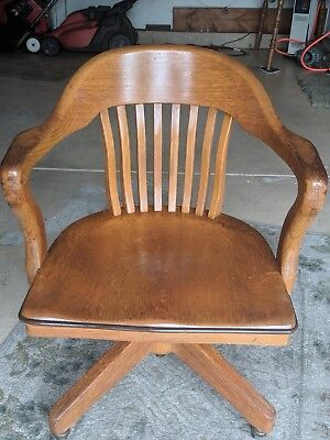 Vintage Oak Lawyer Banker Office Desk Barrel Back Swivel Arm Chair W/ Casters
