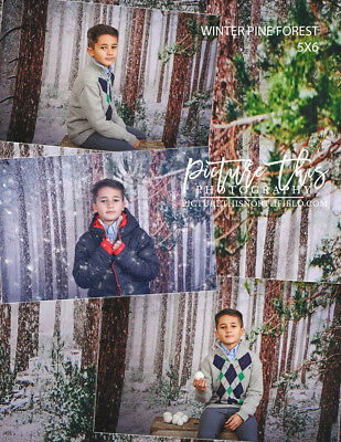 5x6 Pine Winter Snow Forest Background Backdrop Photography Lightweight Cloth