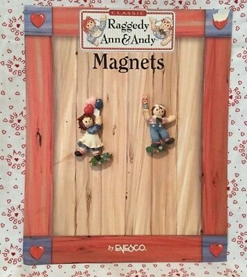 Raggedy Ann & Andy Set Of 2 New Magnets w/ Rare Display By Enesco