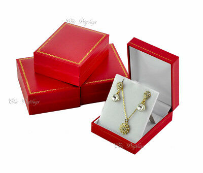 Lot Of (4)  Classic Leatherette Red Pendant Box Red Earring Box Jewelry Gift Box