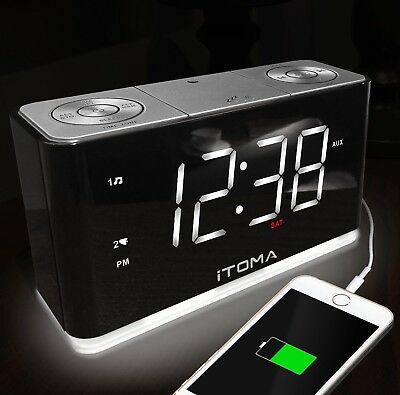 iTOMA Electric Digital Alarm Clock Led FM Radio Player Big Display With Snooze