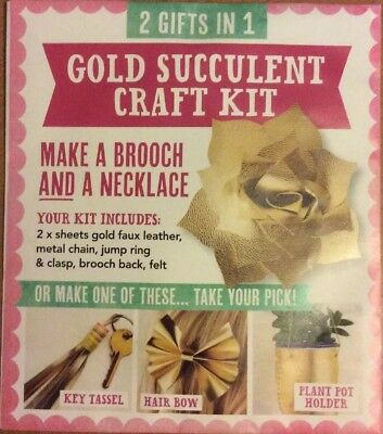 Gold Succulent Craft Kit - Mollie Makes / Lotts & Lots - Brooch & Necklace