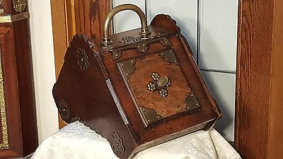 GORGEOUS Antique WOOD Coal Hod ORNATE w TONS Brass Metal Trim All Over RARE!