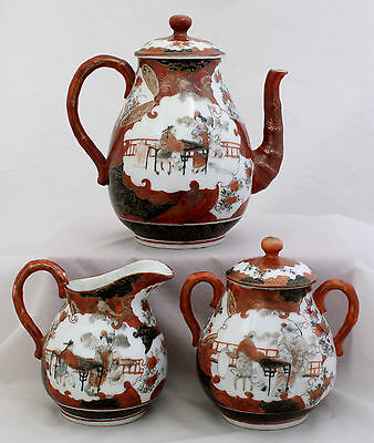 Japanese Meiji Kutani Porcelain 3-piece Tea Set Kobe Kita Mark Heavily Potted