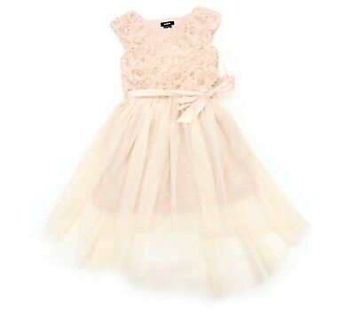 2eaef3ece017 Zunie Girls Champagne Gold Sequin Tulle Lace Party Flower Girl Dress 12 NEW!