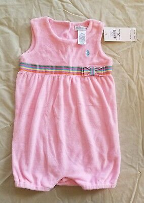NWT Ralph Lauren Polo One Piece Outfit Romper 9 months Pink Summer Clothes