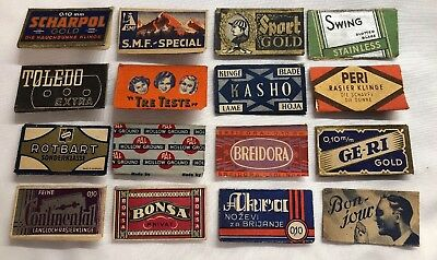 Lot Of 16 vintage different variations razor blade wrappers From 1920's.