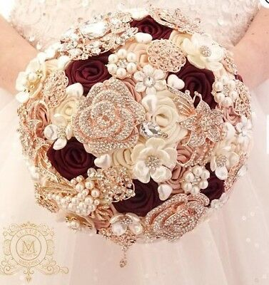 Wedding bridal brooch bouquet - Burgundy and Rose Gold