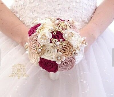 x4 Bridesmaids brooch bouquets burgundy and rose gold