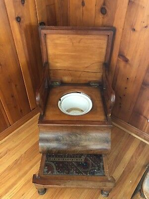 Antique Needlepoint Top Commode