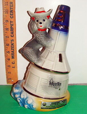 Jim Beam HOUSTON TEXAS convention decanter POODLE ON SPACE CRAFT ROCKET