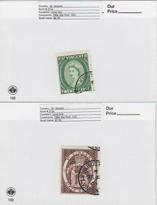St. Vincent - 1964 Definitives Perf. Change. Sc. #211a,213a. SG #209,211. Used