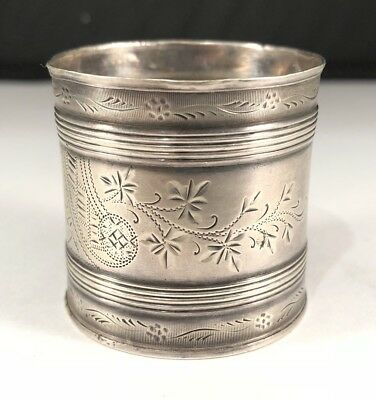 Antique 1849 Sterling Silver  Handmade Handcrafted Detailed Engraved Napkin Ring