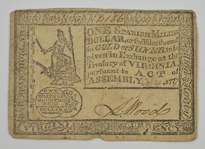 1777 One Dollar Virginia Colonial Currency VA-125 *5919