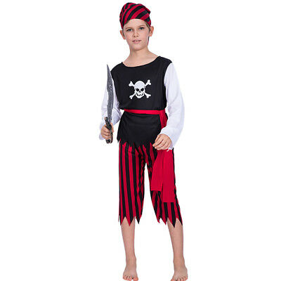 Boys Halloween Costumes Kid Easily Pirate Skull Party Cosplay Fancy Outfit Props