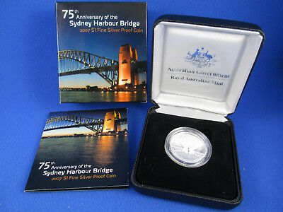 2007 $1 Fine Silver Proof Coin. 75th ANNIVERSARY OF THE SYDNEY HARBOUR BRIDGE