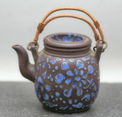 Stunning Vintage Chinese Yixing Zisha Enamel Teapot Copper Wire Handle Stamped