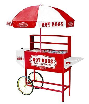 NEW Nostalgia HDC701 48-Inch Hot Dog Vending Cart With Umbrella - Sealed in Box