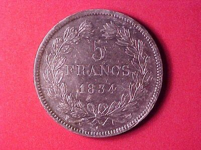 France 5 Francs Silver Crown 1834-W Xf/au Louis Philippe (Cleaned)