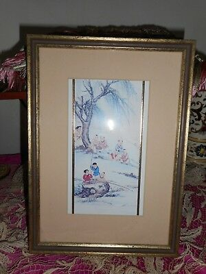 Delightful little oriental hand painted picture