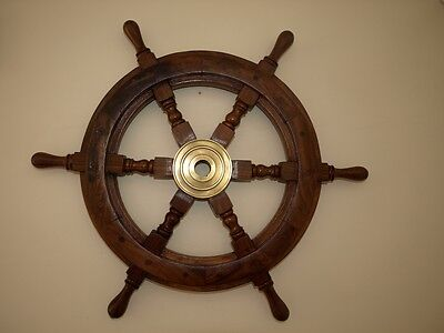 "18"" solid  wooden ships wheel"