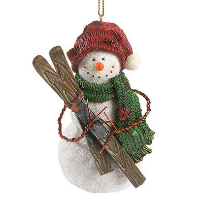 Boyds Bears*SNOWMAN SKIING-JUNEAU SNOWBERT*Bearstone Ornament*NEW 2014*4041896
