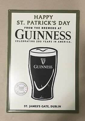 """Guinness Irish Stout Happy St. Patrick's Day Metal Beer Sign 20x14"""" - Brand New!"""