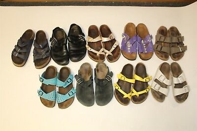 Birkenstock Lot Wholesale Used Shoes Sandals Rehab Resale Collection 9 PAIR aHtB