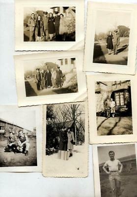 Lot of 7 Vintage snapshots of WW2 uniform man with family