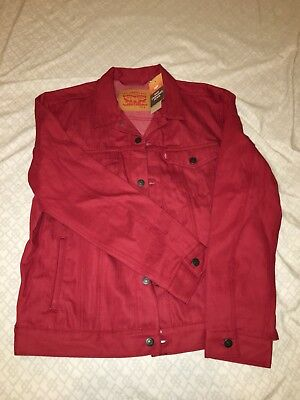 Mens Size Medium Vintage LEVIS Brick Red Tab Jean Denim Trucker Jacket- NWT