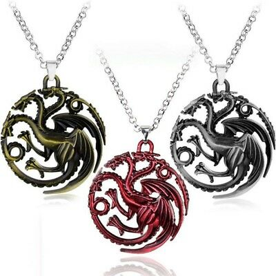 Game Of Thrones House of Targaryen Dragon Chain Pendant Necklace Jewellery Gift