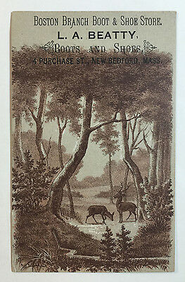 Victorian Trade Card L A Beatty Boots & Shoes Boston Branch Deer in Forest