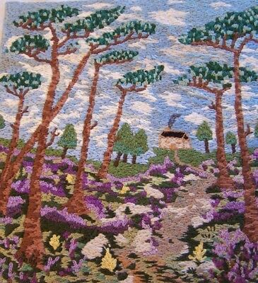 Vintage Hand Embroidery Picture On Linen Scottish Highland Scene Heather Etc
