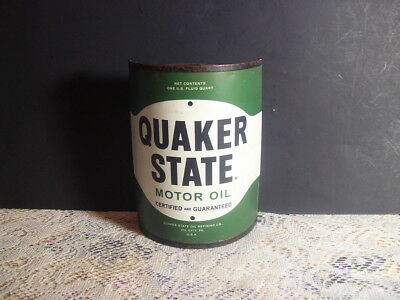 Quaker State Motor Oil Metal Wall Mount 1/2 Can Wall Decor Man Cave Garage 6 In
