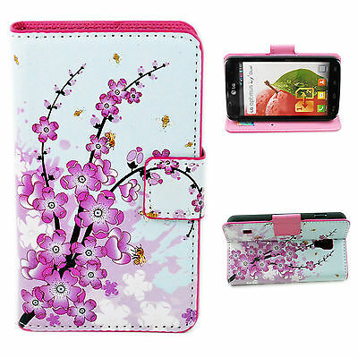 Beautiful Wallet Leather Flip Stand Phone Case Cover For LG Optimus L7 II P715