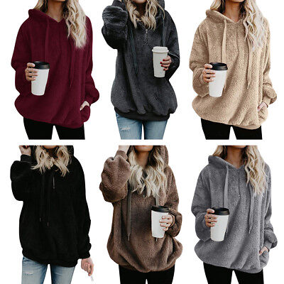 Womens Winter Oversized Fleece Hoodies Sweatshirt Jumper Hooded Pullover Tops