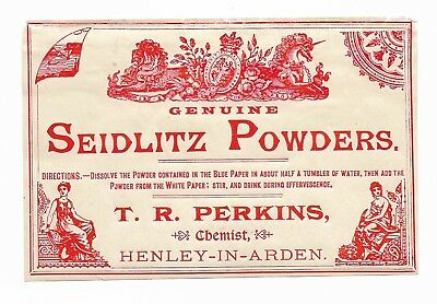 Seidlitz Powders - Late ??19Th Century Chemist's Label - Fizzy Laxative Potion