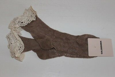 Calzedonia Crochet Ankle High Socks Soft Touch Light Brown One Size Cotton