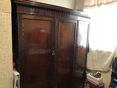Antique 19th Century Mahogany Triple Wardrobe