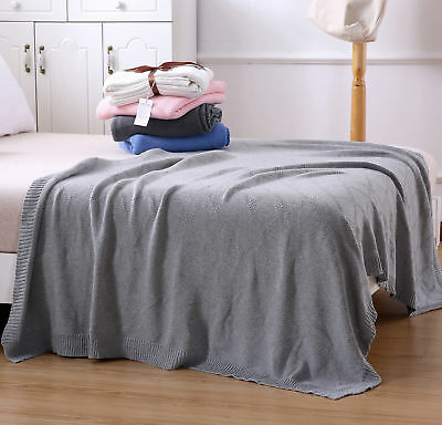 100% Cotton Woven Home Bedroom Soft Chunky Knit Throw Blanket Rug Picnic Rug AU