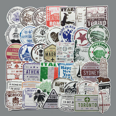 60pcs/lot Retro traveling boarding pass air tickets creative suitcase stickers_S