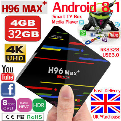 H96 Max plus+ Android 8.1 Smart TV Box 4GB+32GB Quad-Core 4K HD Wifi Set Top Box
