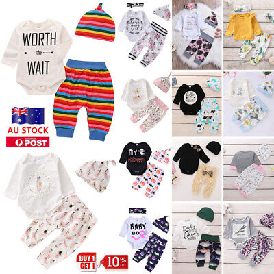 Newborn Kid Baby Clothing Set Girl Boys Jumpsuit Romper + Pants + Hat Outfit AU