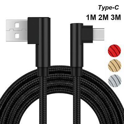 Nylon Braided Type C Cable USB-C Fast Charging 90° Elbow Cord For Samsung S9 S8