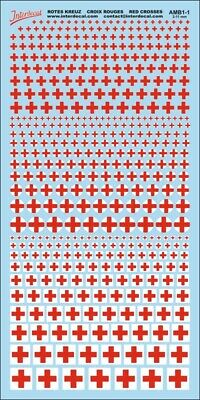 Rotes Kreuz (100x200 mm) Red Cross Decal 2-11mm Naßschiebebild Abziehbild AMB1-1