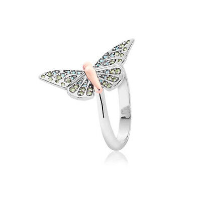 NEW Welsh Clogau Silver & Rose Gold Butterfly Pave Ring £105 OFF! SIZE J