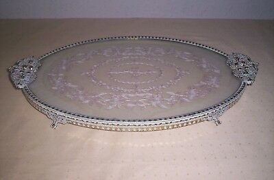Vintage french vanity Lace Tray Filigree Embroidered gold/cream 99p no res