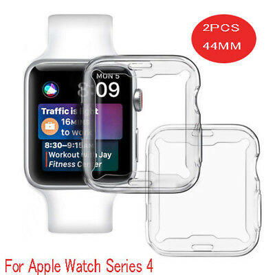 2X For Apple Watch Series4 (44mm) TPU Slim Clear Case Screen protect Full Cover