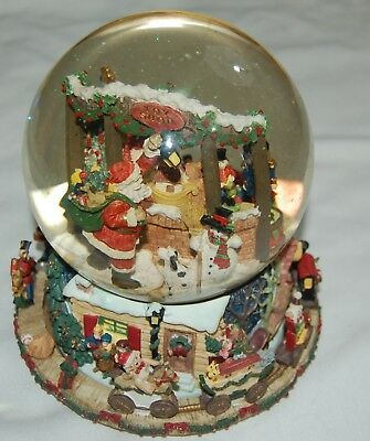 christmas snow globe music box large toy soldiers santa claus presents glass - Large Christmas Snow Globes